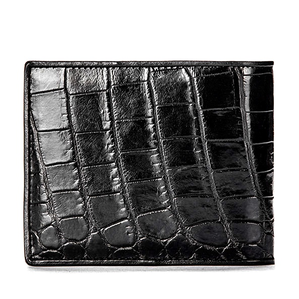 Premium Crocodile Bifold Wallet for Men-Black-Back