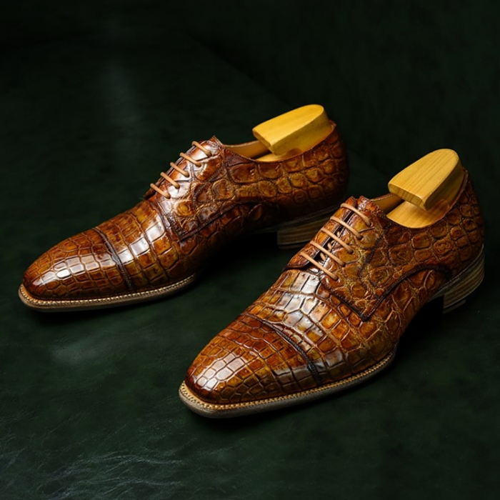 Alligator Cap-Toe Derby Business Dress Shoes-1