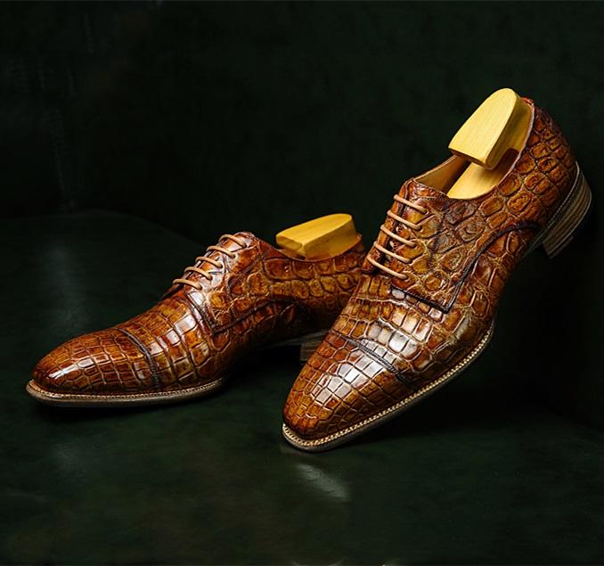 Alligator Cap-Toe Derby Business Dress Shoes-2