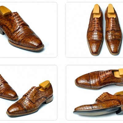 Alligator Cap-Toe Derby Business Dress Shoes-Details