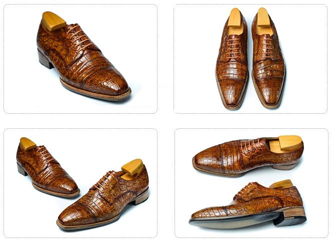 Alligator Cap-Toe Derby Business Dress Shoes-Details