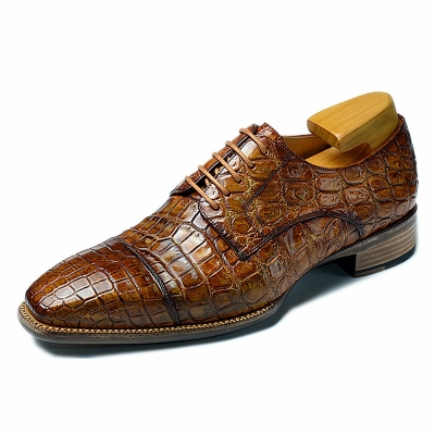 Alligator Cap-Toe Derby Business Dress Shoes for Men