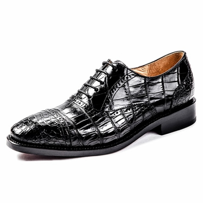 Alligator Cap-Toe Lace-up Oxford Dress Shoes