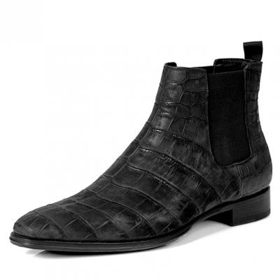 Alligator Chelsea Boots Alligator Slip On Dress Boots-Black Suede