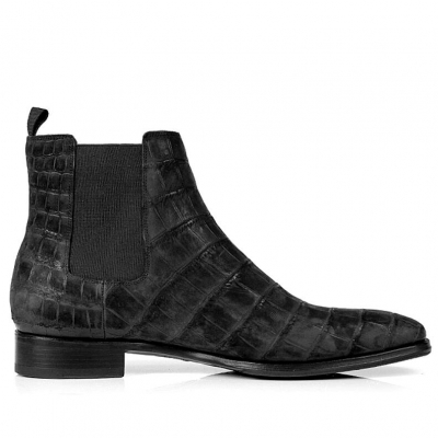Alligator Chelsea Boots Alligator Slip On Dress Boots-Black Suede-Side