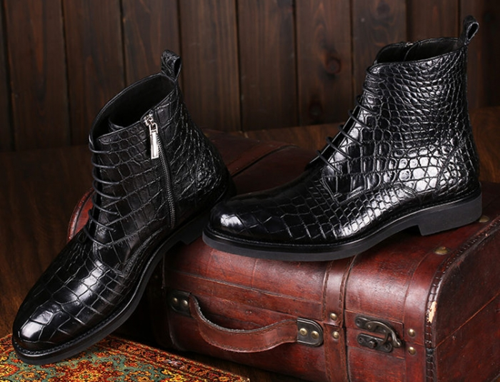 Alligator Dress Boots Comfortable Lace up Boots