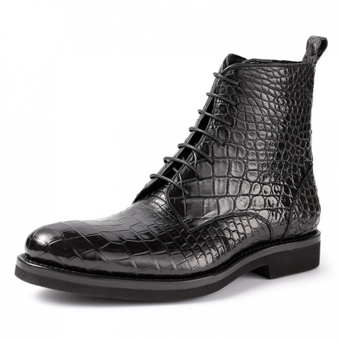 Alligator Dress Boots Comfortable Lace up Boots for Men