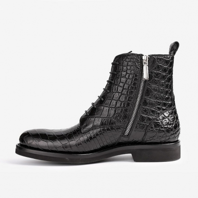 Alligator Dress Boots Comfortable Lace up Boots for Men-Side