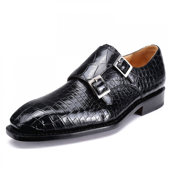 Alligator Dress Shoes Monk Strap Buckle Loafers Slip on Oxford Shoes