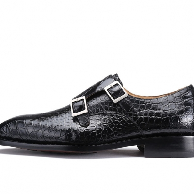 Alligator Dress Shoes Monk Strap Buckle Loafers Slip on Oxford Shoes-Side