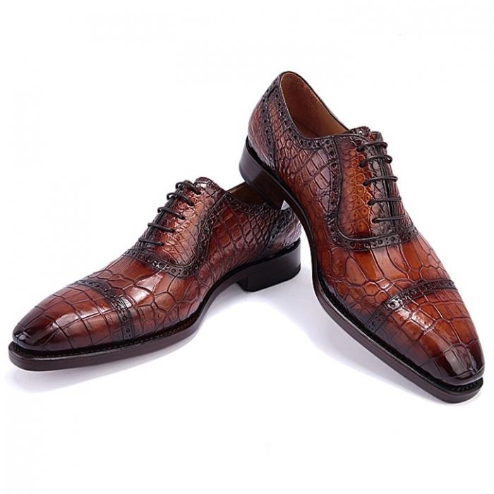 Alligator Leather Cap Toe Oxford Dress Shoes for Men-Brown