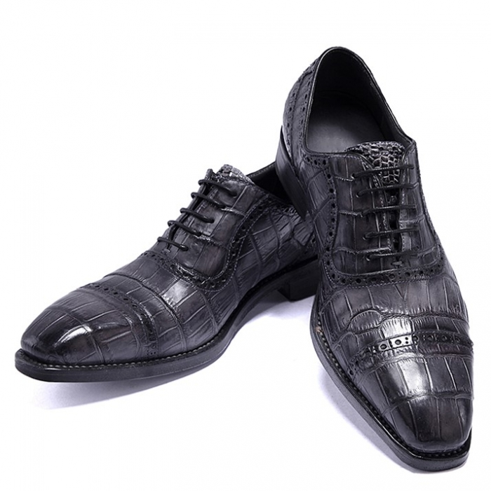 Alligator Leather Cap Toe Oxford Dress Shoes for Men-Gray