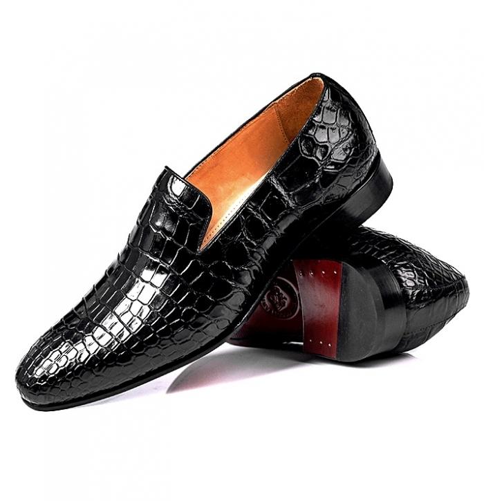 Alligator Leather Slip-On Loafer Casual Shoes for Men-Black