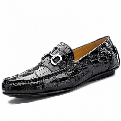 Alligator Penny Loafers Driving Style Moccasin Shoes