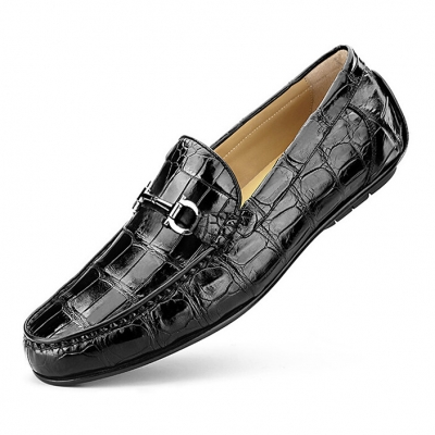 Alligator Penny Loafers Driving Style Moccasin Shoes-Black