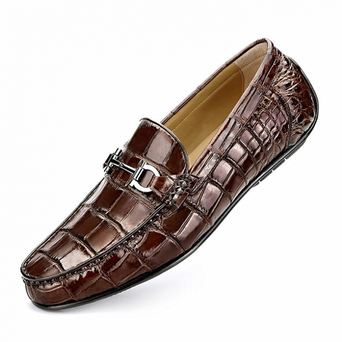 Alligator Penny Loafers Driving Style Moccasin Shoes-Brown