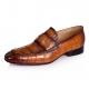 Alligator Penny Slip-On Leather Lined Loafer-Tan
