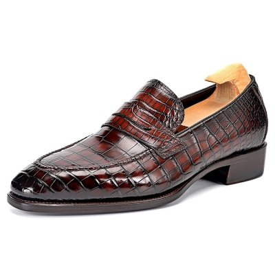 Alligator Penny Slip-On Leather Lined Loafers