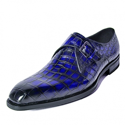 Alligator Single Monk Oxford Modern Formal Business Dress Shoes