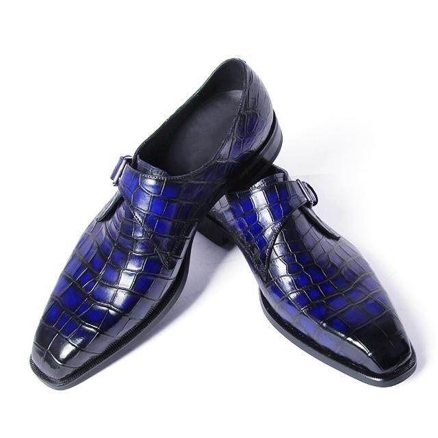 Alligator Single Monk Oxford Modern Formal Business Dress Shoes-Blue