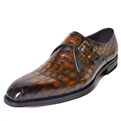 Alligator Single Monk Oxford Modern Formal Business Dress Shoes-Brown