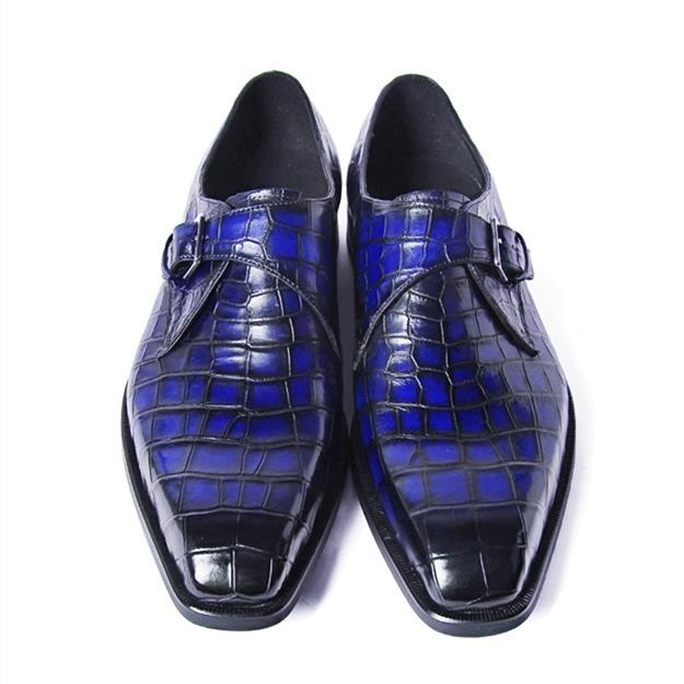 Alligator Single Monk Oxford Modern Formal Business Dress Shoes-Details