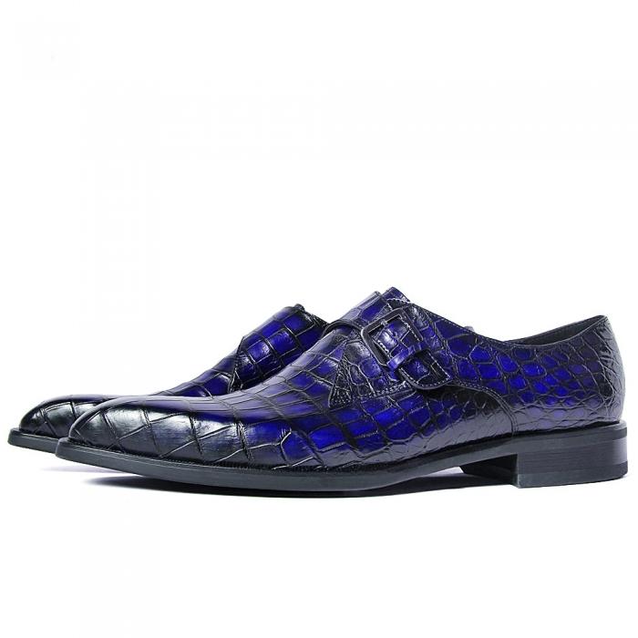 Alligator Single Monk Oxford Modern Formal Business Dress Shoes-Side