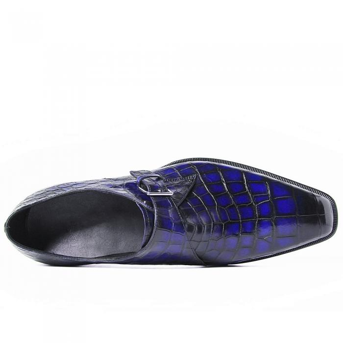Alligator Single Monk Oxford Modern Formal Business Dress Shoes-Upper