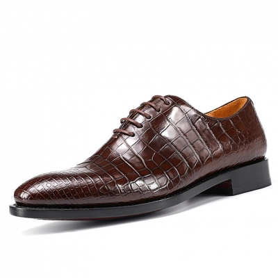 Alligator Wholecut Oxfords Dress Shoes-Brown