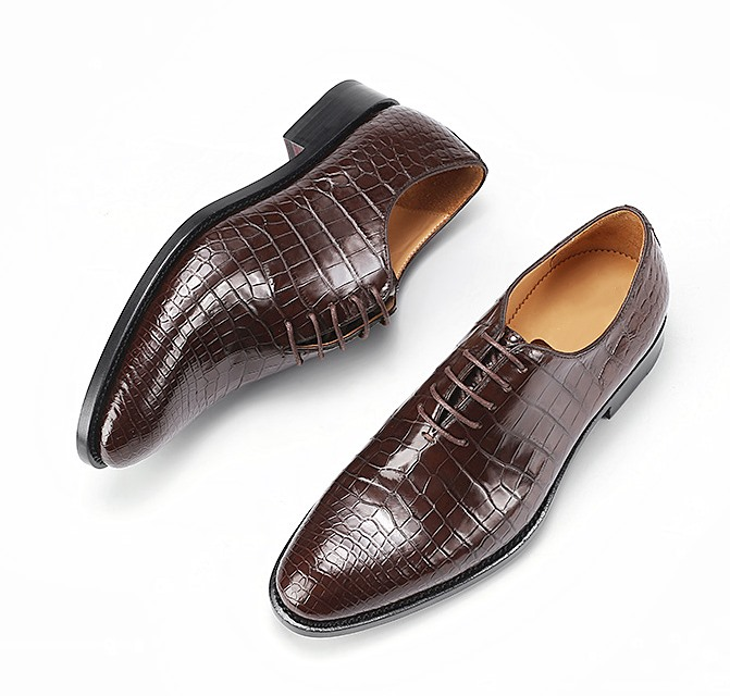 Alligator Wholecut Oxfords Leather Sole Goodyear Welted Dress Shoes-Brown