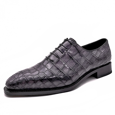 Alligator Wholecut Oxfords Leather Sole Goodyear Welted Dress Shoes-Gray