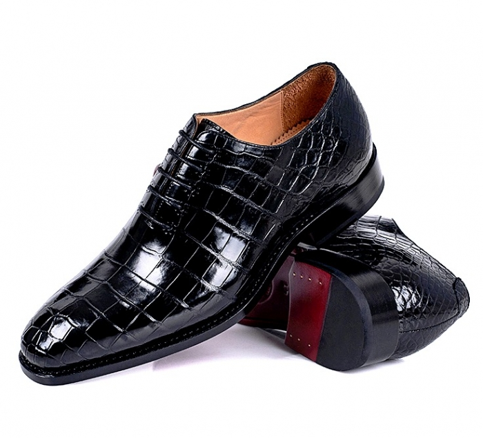 Alligator Wholecut Oxfords Leather Sole Goodyear Welted Dress Shoes for Men