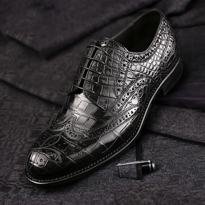Alligator Wingtip Oxford Business Dress Shoes for Men