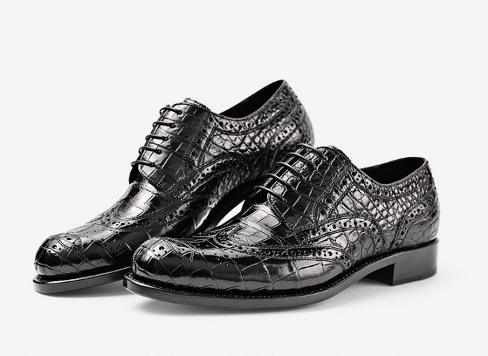 Classic Alligator Wingtip Oxford Business Dress Shoes