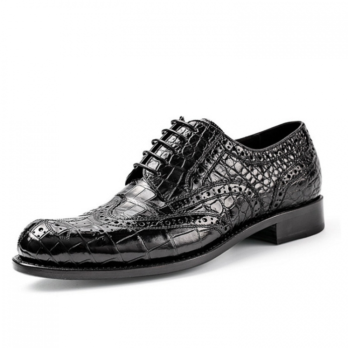 Classic Alligator Wingtip Oxford Business Dress Shoes for Men