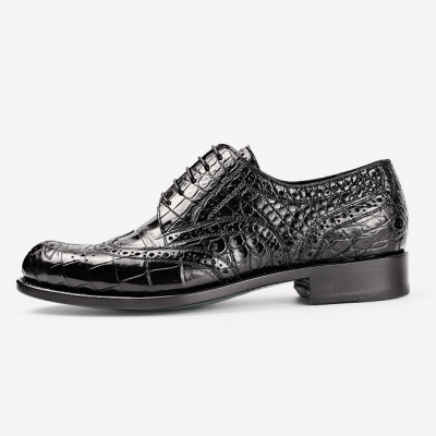 Classic Alligator Wingtip Oxford Business Dress Shoes for Men-Side