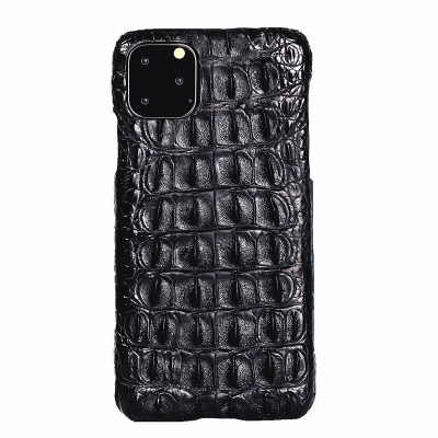 Crocodile & Alligator Leather Snap-on Case for iPhone 11 Pro, 11 Pro Max - Black - Backbone Skin