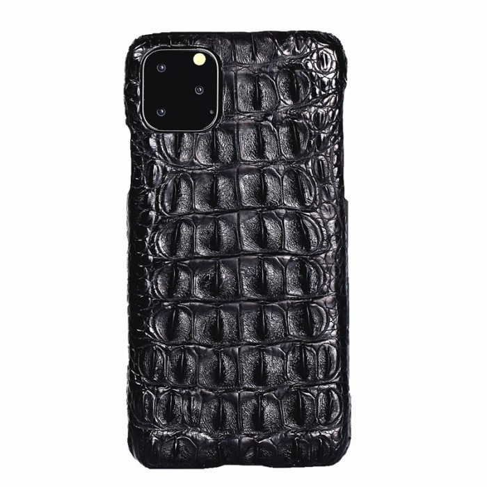 Crocodile & Alligator Leather Snap-on Case for iPhone 11 Pro, 11 Pro Max - Black - Backbone Skin