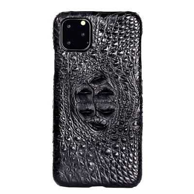Crocodile & Alligator Leather Snap-on Case for iPhone 11 Pro, 11 Pro Max - Black - Hornback Skin
