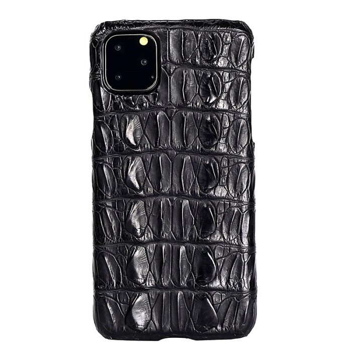 Crocodile & Alligator Leather Snap-on Case for iPhone 11 Pro, 11 Pro Max - Black - Tail Skin