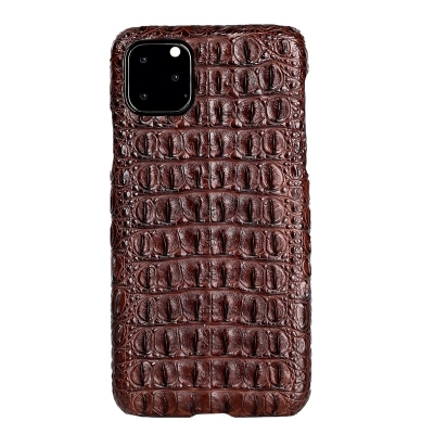 Crocodile & Alligator Leather Snap-on Case for iPhone 11 Pro, 11 Pro Max - Brown - Backbone Skin