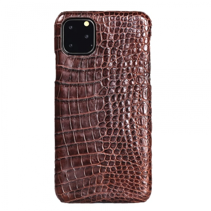 Crocodile & Alligator Leather Snap-on Case for iPhone 11 Pro, 11 Pro Max - Brown - Belly Skin