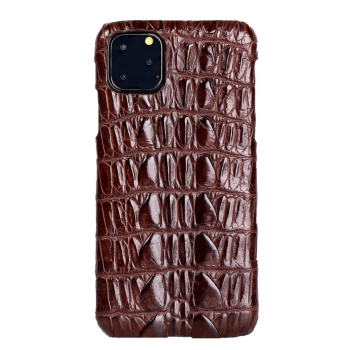 Crocodile & Alligator Leather Snap-on Case for iPhone 11 Pro, 11 Pro Max - Brown - Tail Skin