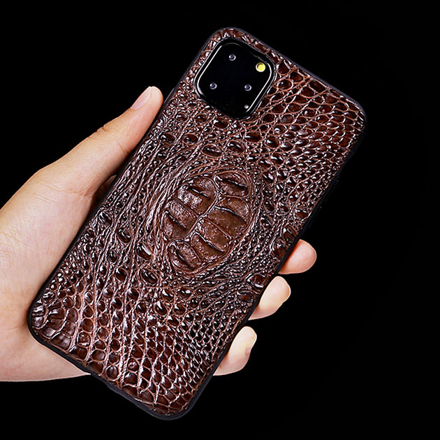 Crocodile & Alligator iPhone 11, 11 Pro, 11 Pro Max Cases with Full Soft TPU Edges - Brown - Hornback Skin