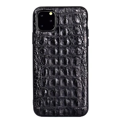 Crocodile & Alligator iPhone 11 Pro, 11 Pro Max Cases with Full Soft TPU Edges - Black - Backbone Skin