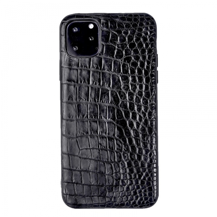 Crocodile & Alligator iPhone 11 Pro, 11 Pro Max Cases with Full Soft TPU Edges - Black - Belly Skin