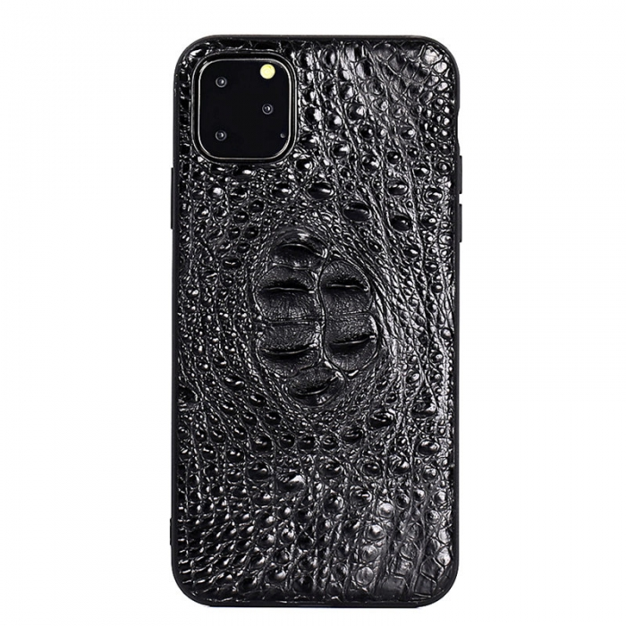 Crocodile & Alligator iPhone 11 Pro, 11 Pro Max Cases with Full Soft TPU Edges - Black - Hornback Skin
