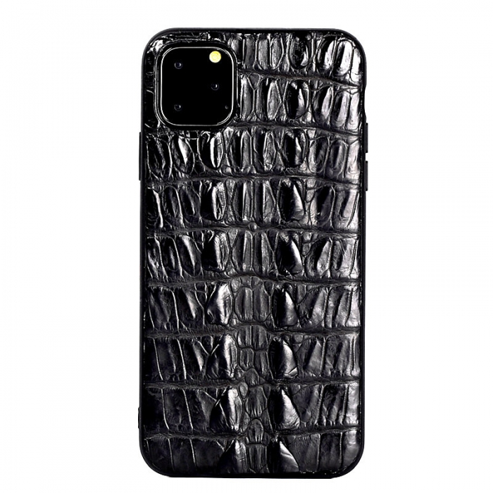 Crocodile & Alligator iPhone 11 Pro, 11 Pro Max Cases with Full Soft TPU Edges - Black - Tail Skin