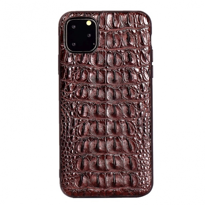 Crocodile & Alligator iPhone 11 Pro, 11 Pro Max Cases with Full Soft TPU Edges - Brown - Backbone Skin
