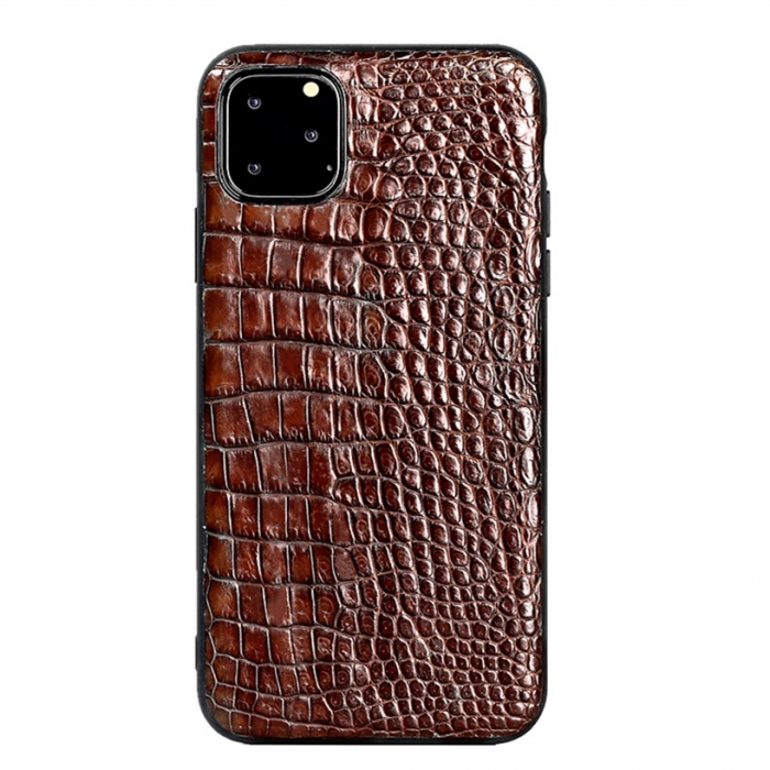 Crocodile & Alligator iPhone 11 Pro, 11 Pro Max Cases with Full Soft TPU Edges - Brown - Belly Skin